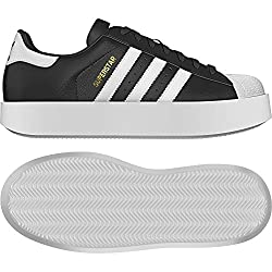 adidas Women's Superstar Bold BA7667 Trainers, Black/White/Gold, Size UK 7