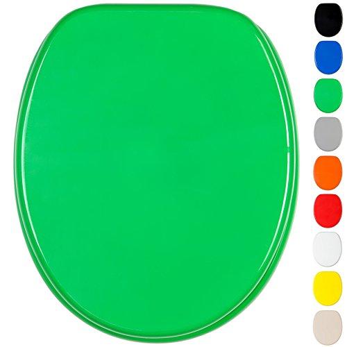WC Sitz, viele einfarbige WC Sitze zur Auswahl, hochwertige und stabile Qualität aus Holz (Grün)