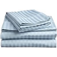 1200hilos 4piezas Juego de sábanas (luz azul de rayas, Reino Unido doble 135x 190cm (121,92cm 6in x 6ft 3in), tamaño de bolsillo 20cm) 100% de algodón egipcio Calidad premium