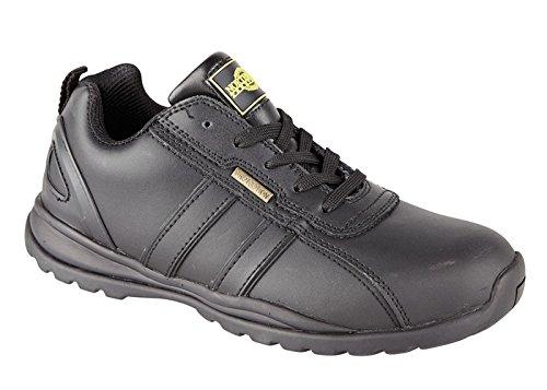 Herren Holman Sicherheit Stahlkappe Leichte Schnürschuh Arbeit Schuh Trainer, schwarz - schwarz - Größe: 43