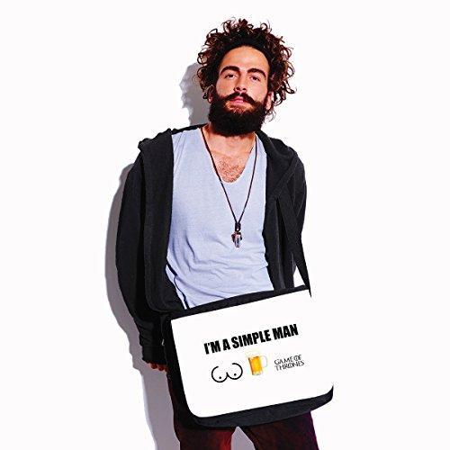 Borsa a tracolla Game of Thrones - Im a simple man - humor - serie tv - dimensioni 35x30x11,5 cm Bianco