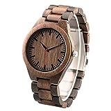 Holz Uhren Herren Gravur Herrenuhr aus Holz - Geschenk für Ehemann Bräutigam Geschenk Trauzeugen Geschenk- Walnuss Holz Armbanduhr Herren
