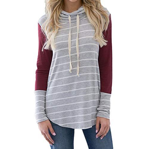 Preisvergleich Produktbild Sannysis Damen Pullover Langarmshirt Elegant Frauen Langarm Casual Striped Stitching Pullover Sweatshirts Top Bluse