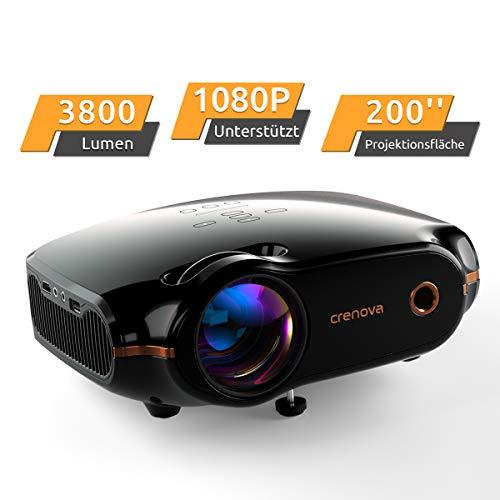 """Mini Beamer, Portable Crenova Video Projektor, HD Beamer mit 200"""" Bildgröße unterstützt 1080P,3800 Lumen für PC/DVD/TV/Xbox/Filme/Spiele/Smartphone mit kostenlosem HDMI-Kabel,Schwarz"""