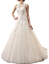 GEORGE BRIDE senza maniche A linea di abito da sposa principessa Tulle di  Applique c681dee7315