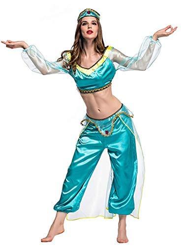Jasmin Kostüm Women's - Fanessy. Damen Prinzessin Jasmin Kostüm Arabisches Kostüm Oder Genie Kostüm Set Crop Top + Lange Weite Hose + Stirnband Cosplay Karneval Fasching Halloween Kostüm