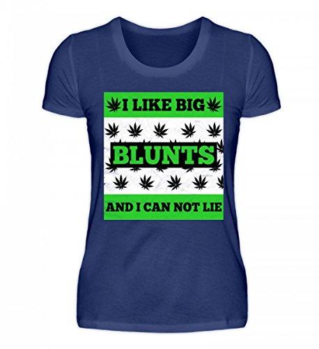 Shirtee Hochwertiges Damen Organic Shirt - Mi Piacciono I Big Blunts E Non Posso Mentire - Cannabis Thc Cbd Marihuana Mary Jane Weed Lila Blau