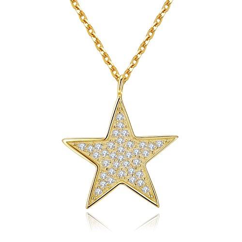 Einstellbare Größen Kette 925 Sterling Silber Fünf Sterne Anhänger Halskette Mit AAA + Zirkonia Für MetJakt Frauen Edlen Schmuck 40,42,45CM (Gold)