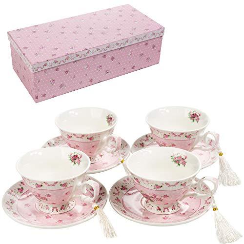 Kaffeetasse und Untertasse, Shabby Chic, Vintage, Porzellan, Vogel Schmetterling, Flora, Geschenk-Box (Rose Pink)