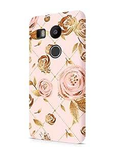 Cover Affair Floral / Flowers Printed Designer Slim Light Weight Back Cover Case for LG Nexus 5X / LG Google Nexus 5X (Pink & Gold)