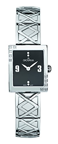GROVANA 4568.7137 Women's Quartz Swiss Watch with Black Dial Analogue Display and Silver Stainless Steel Bracelet