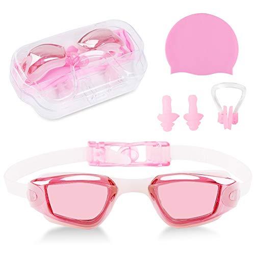 Delaman Badekappe Kinder UV-Schutz Schwimmbrillen Schutzbrillen Badekappen Ohrstöpsel Nase Clip für Jungen und Mädchen (Color : Pink)