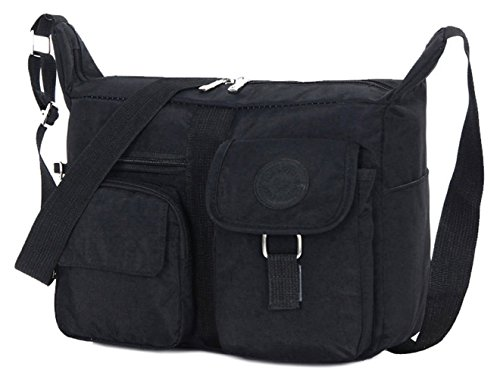 Tibes Travel Messenger Bag Beiläufige Umhängetasche Oxford Stoff Crossbody Tasche Tasche für Damen / Herren Schwarz (Stoff Handtaschen Body Cross Schwarz)