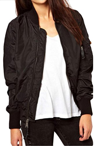 Generic Womens Front Zipper Solid Color Autumn Bomber Jacket Outcoat