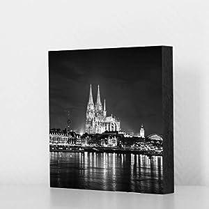 Köln Bild - Skyline bei Nacht sw, 14x14cm, MDF, Geschenk, Deko, Dom, Kölngeschenk, Cologne, Holz, Kunst