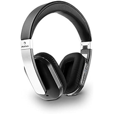 auna Elegance ANC Auriculares Estéreo con Micrófono y Bluetooth 4.0 -NFC (cable jack 3,5mm, cargador microUSB, tecnología ANC, orejeras insonorizados, cancelación de ruido, cascos flexibles y móviles, conexión multiple, alta calidad, reproducción de sonido, compatible