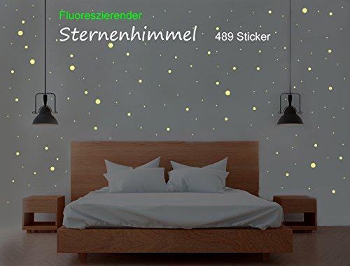 Sternenhimmel 489 Leuchtpunkte/Sterne, Aufkleber - Sticker - Wandtattoo, perfekt für Kinderzimmer und Schlafzimmer