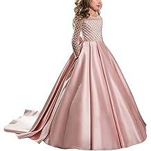 Appliques de encaje vestido de niña de flores para la boda Princesa Vestidos de Dama De