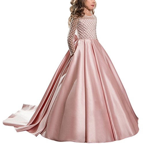 Mädchen Applique Prinzessin Lang Kleid Elegante Tüll Kleid für Hochzeit Brautjungfer #7 Rosa 6-7 Jahre