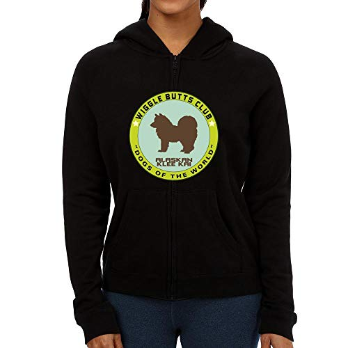 Idakoos Alaskan Klee Kai Wiggle Butts Club Pin Damen Kapuzenjacke M Klee Zip Hoodie