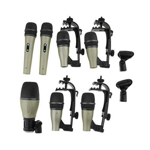 Homyl Schlagzeug Set Mikrofon-Kit mit Kabelhalterung für Studio Stage Show Live Drumming (Mikrofon-schlagzeug-set)