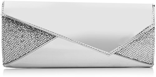 Swankyswans Damen Casey Patent Leather Glitter Clutch, Silber (Silver), 5x12x28 centimeters - Glitter Patent Schuhe