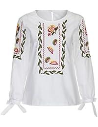 Vovotrade Mujer Floral Flor Bordado Bowknot Blusa Casual Tops Suelto Camiseta Cerca