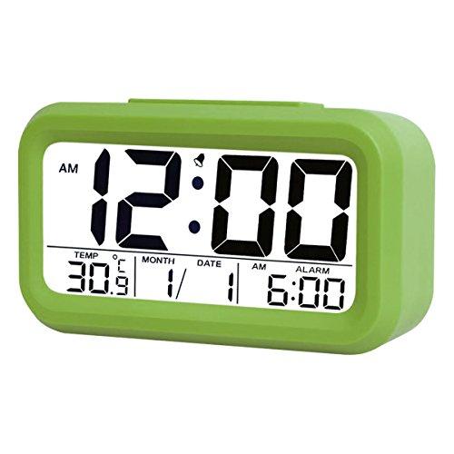 5.3' Digital Despertador Reloj Coolzon® LCD Alarma Despertador Función Snooze Sensor de Luz Tiempo Fecha Temperatura, Verde