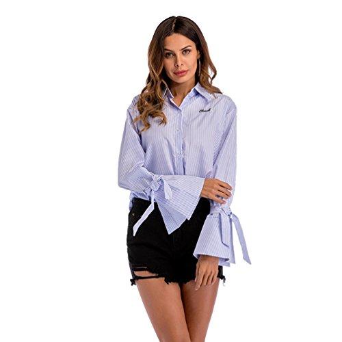 Niseng donna camicia manica in corno camicia a maniche lunghe camicia righe verticali casual blu l