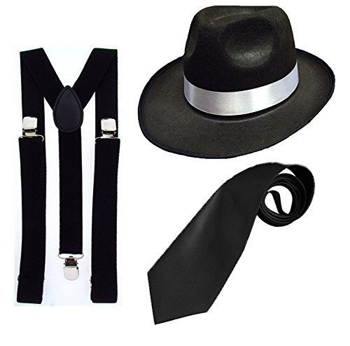 DELUXE 1920S GANGSTER FANCY DRESS SET - TRILBY HAT + BLACK SUSPENDER BRACES + BLACK TIE (Black Hat) by RS ()
