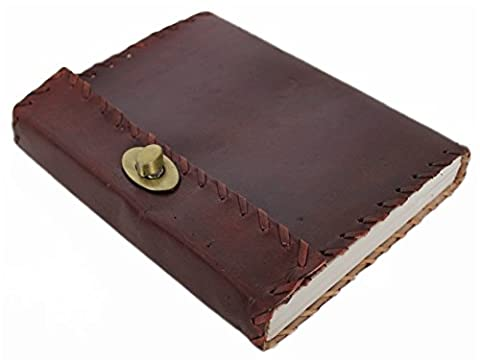 Leatherworld Echt-Leder Notizbuch Tagebuch Lederbuch Handgeschöpftes Papier Journalbuch Notizblock für Universität Reise Büro Kunst DIN A5 aus echtem Büffel Leder (Leder Echtes Album)