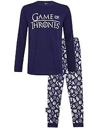 Juego de Tronos Pijama Hombre Mujer Se Acerca el Invierno, Pijamas Dos Piezas de algodón de Manga Larga Invierno, Emblemas de diseño Casas de Juego de Tronos, Regalos para Mujeres Hombres