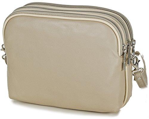 f99af40f5c60a Taschenloft kleine italienische Damen Umhängetasche Crossover Tasche aus weichem  Leder in beige.