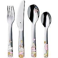 WMF Princesa Anneli - Cubertería para niños 4 piezas (tenedor, cuchillo de mesa, cuchara y cuchara pequeña) (WMF Kids infantil)