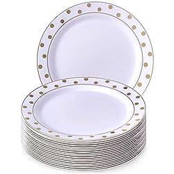 Charmant Pois Collection Blanc avec Doré à pois jetables rond Assiette à salade Dinnerware- Heavyweight Plastique 19,1cm Round côté plaques