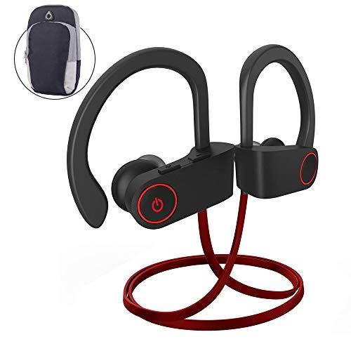Cuffie bluetooth running, auricolari wireless fitness bluetooth senza fili correre jogging ciclismo workout sport gym microfono stereo in ear 9 ore musica (+1 fascia da braccio)
