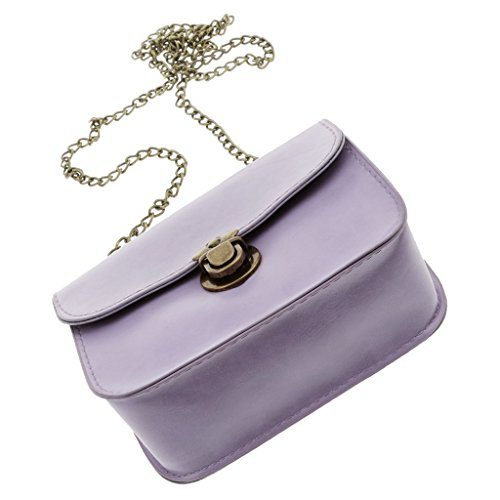 Gazechimp Damen Schultertasche puleder Schulterkette Elegant Handtasche - Weiß Licht Lila