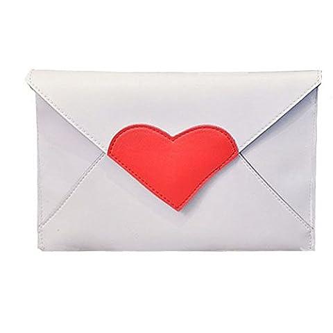 Sacs Messenger Femme, Xjp Sacs à Main En Forme De Coeur Sac D'épaule Pour Fête (Blanc)