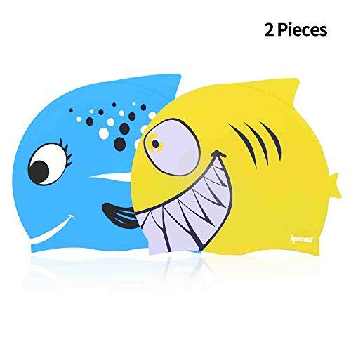 706312384 ipow 2 PCS - Gorros de natación para niños Silicona no tóxica  Antideslizante