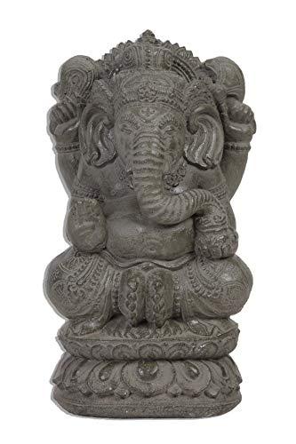 Ca. 35cm Gamesha Stein Buddha Antik Look Hindu Massiv Steinfigur Skulptur Feng Shui Garten Deko Wetterfest Lawa Stein Vitakra Mudra STB8