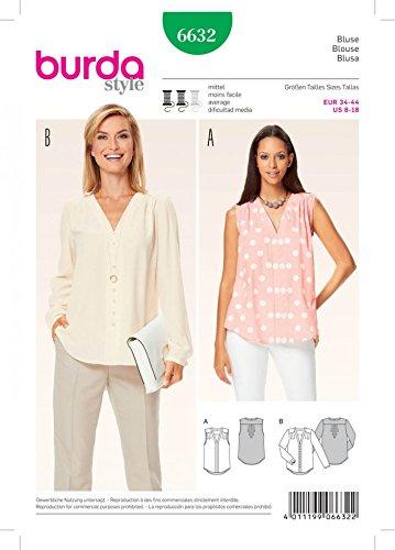 Burda Damen Schnittmuster 6632V Hals Bluse Tops + Gratis Minerva Crafts Craft Guide -