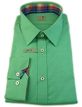 Seidensticker Herren Langarm Hemd Schwarze Rose Slim Fit grün strukturiert mit Patch 240746.76