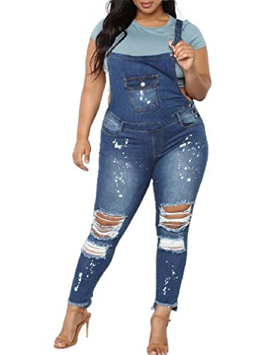 CuteRose Womens Overalls Oversized Fall Winter Skinny Jean Bibs Jumpsuits Light Blue XS