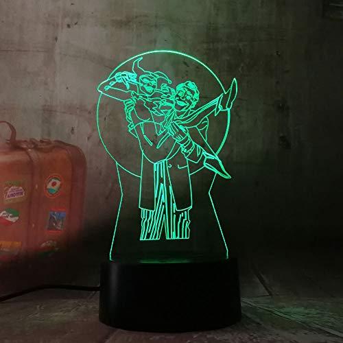 Kühle NEUE 3D LED DC Joker & Harley Quinn Nachtlicht Schreibtisch Tischlampe 7 Farbwechsel Taschenlampe USB RGB Neuheit Spielzeug Kinder Geschenk Dekor