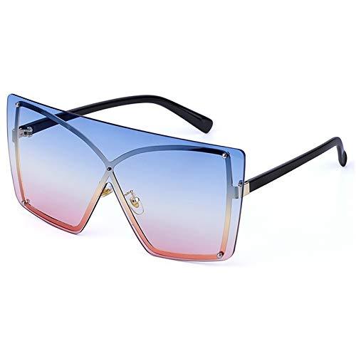 DTYZGE Herren Sonnenbrille Übergroße Sonnenbrille randlose quadratische Metall weibliche Männer Sonnenbrille