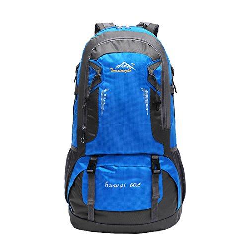 Zaini da Escursionismo Leggeri - Landove Zaino Impermeabile Trekking Grande Militare Tattico Molle Campeggio Outdoor Assalto Borsa Sportiva Alpinismo 60L blu