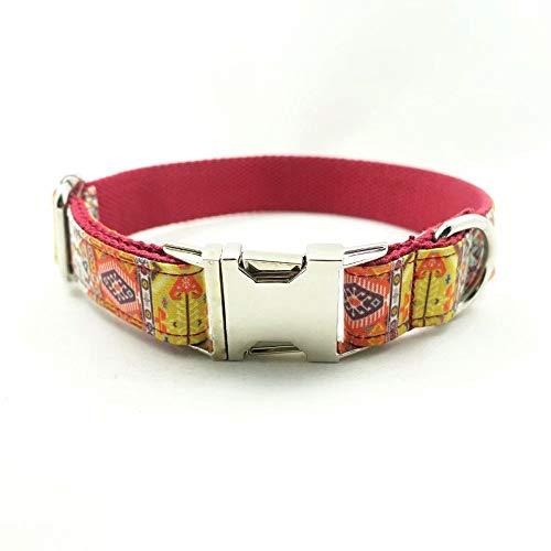 XBUTY - Collare per Cani, Realizzato a Mano, Stile Etnico bohémienne, Morbido e Confortevole, in Nylon e Flanella, per Cani di Taglia S/M/L/XL, 4 Taglie