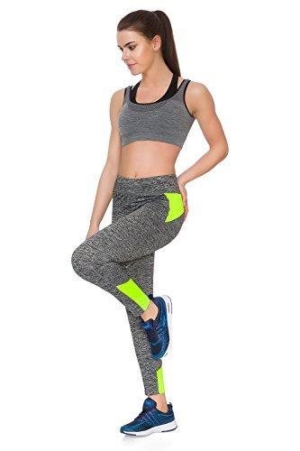 futuro Fashion femmes Sport Gym Fitness Legging yoga de course séance d'entraînement pantalons femmes longue Pantalon extensible DS80 yellow-ds8034