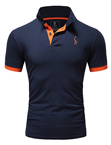 Glestore Mens Polo Shirts MT1030 Golf Tennis Shirt Giraffe Dark Blue M