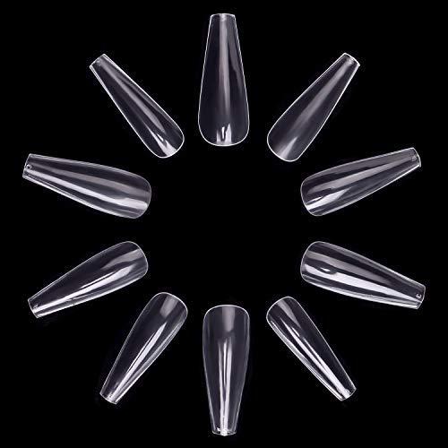 Künstliche Fingernägel, Ballerina, für Ballettnägel, durchsichtig, Acryl, 10 Größen, 500 Stück